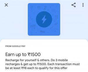Google Pay Offer - Earn Up to ₹1500 Cashback